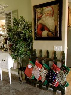 Little Bit of Paint: Old Fence turned Stocking Holder.good idea for those without fireplace or mantels Christmas Stocking Stand, Country Christmas, Rustic Christmas, Winter Christmas, Christmas Stockings, Christmas Holidays, Christmas 2019, Christmas Ornaments, Christmas Projects