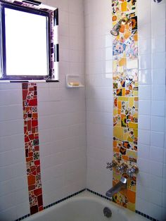 DIY Mosaic Bathroom Tile - That is making a personal statement!