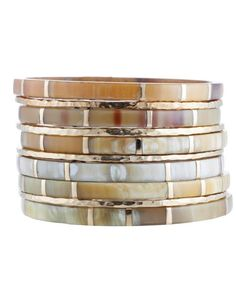 """Ashley Pittman """"Bora"""" Bangle Set of 10 in Light Horn - I have just discovered this designer and I am LOVING her stuff! So unique!"""