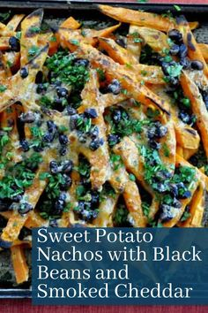 The nachos to end all nachos...the most epic Sweet Potato Nachos recipe ever! With just 4 ingredients and a quick blitz under the broiler, this healthier nacho recipe will be ready in minutes. Full of flavor and perfect as an easy dinner idea for the family. #nachos #sweetpotato#blackbeans #healthyrecipe #dinner #vegetarian