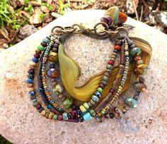 Earth wear. Picasso Czech Glass, seed bead and silk ribbon bracelet. Bronze metal. - - McKee Jewelry Designs - 4