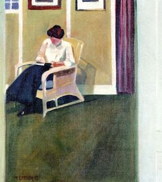 "Frau Erbslöh Reading (1907). Adolf Erbslöh (German, 1881-1947). Oil on copper. In 1909 the artist was secretary of the founding circle of the ""Neue Künstlervereinigung München."" Their new art form is characterized by strictly styliyed..."