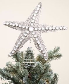 Glitter Starfish Tree Topper for the beach Christmas tree Best Christmas Tree Toppers, Christmas Tree Tops, Holiday Tree, Xmas Tree, Christmas Wreaths, Christmas Decorations, Christmas Ornaments, Christmas Crafts, Coastal Christmas Decor