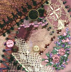 I dropped the button box - crazy quilt block 4