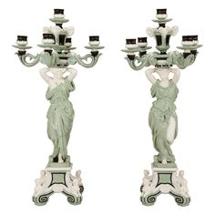 Pair of Minton 19th c. Monumental 5 Light Porcelain Candelabra