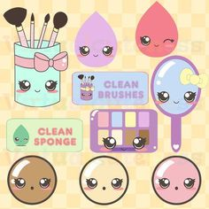 Kawaii Makeup Clipart - Cute Makeup Brushes Beauty Products Digital Stickers Planner Stickers Girly Free Commercial and Personal Use Chibi Kawaii, Kawaii Diy, Kawaii Doodles, Cute Doodles, Kawaii Cute, Planner Stickers, Printable Stickers, Kawaii Stickers, Cute Stickers