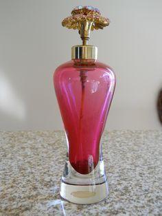 Vintage Irice Irving w Rice Floral Red Glass Perfume Atomizer Rhinestone Flower | eBay