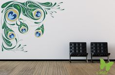 peacock feather wall decal | Peacock Feathers | E-Walls Studio Vinyl Wall Stickers