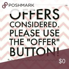 Please make offers by using the OFFER BUTTON only. Reasonable offers ~~ I will consider. Thanks & have fun shopping my closet!! Offers only considered if you use the OFFER BUTTON. Thanks! none Other