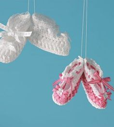 Crochet these baby shoes for your next baby shower; switching out the ribbon color for a new look each time.