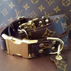 Multiway Mono adjustable LV Mono dog collar with metal/brass hardware - $105