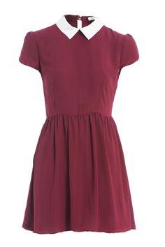CONTRAST COLLAR SKATER DRESS BURGUNDY – Fabric Boutique £33 > http://www.fabricboutiqueonline.com/products/contrast-collar-skater-dress-burgundy