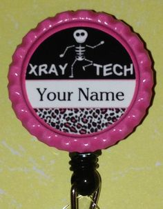 Custom Personalized XRay X-Ray Radiology Tech Technician Retractable Name Badge ID Reel Holder Bottle Cap Gift