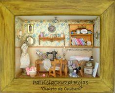 Patricia Cruzat Artesania y Color: Cuarto de Costura con Miniaturas, en un Gran cuadro.