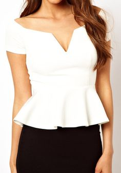 Off Shoulder Peplum Top - White @LookBookStore