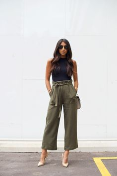 spring / summer - street style - street chic style - summer outfits - party outfits - casual outfits - black sleeveless crop top + olive belted culottes + military belted culottes + nude stilettos + b (Party Top Outfit) Fashion Mode, Work Fashion, Fashion Outfits, Womens Fashion, Spring Fashion, Women Fashion Casual, Street Fashion, Spring 2018 Fashion Trends, Latest Fashion