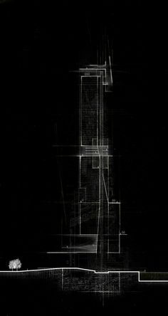 """architectural-review:   usfsacd: Erick McGartland, USF School of Architecture, Class of 2016 Adv. Design B: """"Imagining Chicago"""" - Summer 2014, Professor Martin Gundersen Conceptual section analysis of a tower in Chicago"""