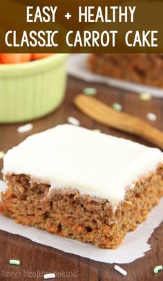 Clean Eating Classic Carrot Cake – this easy recipe tastes AMAZING! Secretly healthy with NO butter, refined flour or sugar! whole wheat greek yogurt carrot cake. Easy Carrot Cake, Healthy Carrot Cakes, Healthy Cake Recipes, Healthy Cookies, Healthy Sweets, Healthy Baking, Baking Recipes, Sweet Recipes, Whole Wheat Carrot Cake