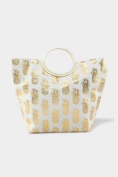 The Gold Foil Pineapple Tote features a canvas tote with a circle handle and gold accents. Rachel Clark, Gold Accents, Shoulder Handbags, Gold Foil, Louis Vuitton Damier, Office Bags, Pineapple, Coin Purse, Jewelry Accessories