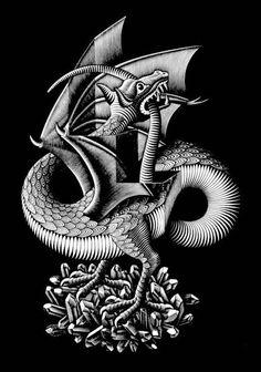 'Drache', Lithografie von Maurits Cornelis Escher (1898-1972, Netherlands)