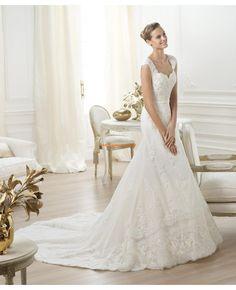 2014 Schöne Brautkleider aus Satin mit Schleppe