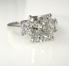 3.83ct Estate Vintage Radiant Cut Diamond EGL USA 3 stone Engagement Wedding Anniversary Ring in Platinum