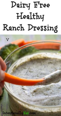 This Dairy Free Healthy Ranch Dressing is not just for salads, dip veggies, dip pizza, or dip what ever your heart desires! Low fat, low calorie and vegan. Dairy Free Veggie Dip, Dairy Free Dips, Dairy Free Salads, Lactose Free, Gluten Free, Healthy Ranch Dressing, Ranch Dressing Recipe, Dairy Free Recipes Easy, Dairy Free Brownies