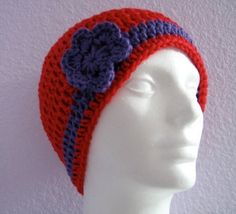 Red Purple Crocheted Flower Cloche Hat by TimeForCrochet on Etsy,
