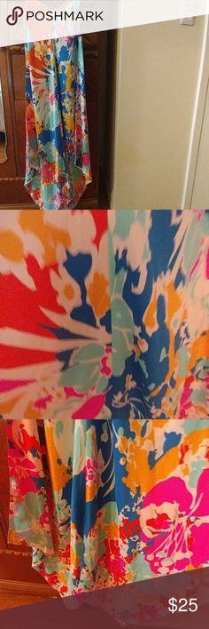 Spaghetti strap handkerchief dress Beautiful multi colors Midi length dress. 100% silk, never worn julie brown nyc Dresses Midi