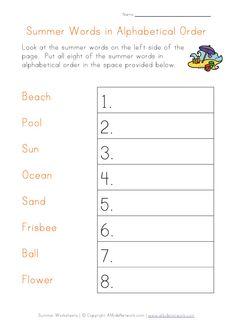 summer worksheet - alphabetical order