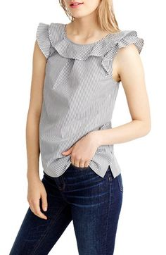 J.Crew J.Crew Shirting Stripe Ruffle Top available at #Nordstrom