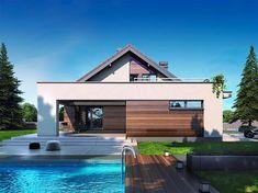 Projekt domu z poddaszem Gusto II 2G+ o pow. 113,36 m2 z obszernym garażem, z dachem dwuspadowym, z tarasem, sprawdź! Home Fashion, Building A House, Mansions, House Styles, Buildings, Design Ideas, Houses, Home Decor, Projects