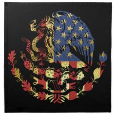 Gold US Mexican Coat of Arms Cloth Napkin - independence day of july american holiday usa patriot Mandala Tattoo Sleeve Women, Mexican American Flag, Mexico Tattoo, Tree Tattoo Back, Mexican Art Tattoos, Usa Tattoo, Aztec Culture, Old School Tattoo Designs, Bear Tattoos