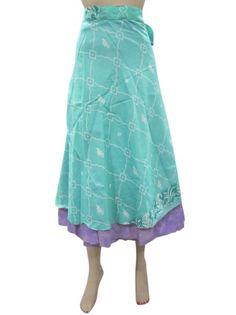 Amazon.com: Indiatrendzs Skirt Reversible Two Layer Printed Silk Sari Wrap Around Skirts: Clothing