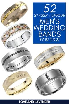 Sharing with you our huge list of cool and unique men's wedding band ideas. We've burned the midnight oil to research and select a number of rings we think you'll really enjoy! #weddingbands #mensweddingbands #weddingbandsformen Wedding Men, Wedding Blog, Wedding Bands, Stylish Rings, Unique Rings, Honeymoon Planning, Classic Gold, Wedding Stationery, Anniversary Gifts