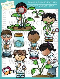 The Plant and Bug Scientists clip art set features botanists and entomologists inspecting bugs and plants. This set contains 18 image files, which includes 9 color images and 9 black & white images in png and jpg. All images are 300dpi for better scaling and printing. $