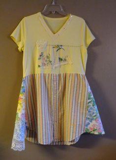 Fun/ Artsy / Romantic / Upcycled Shirt / Tunic / Dress/ by upCdooZ, $47.00
