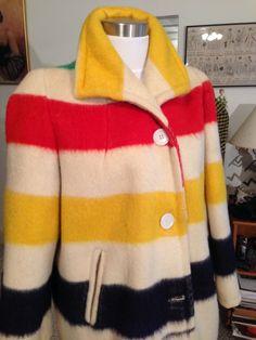 Vtg. Women's Hudson Bay Blanket Coat Jacket Size M by OldohioVintage on Etsy