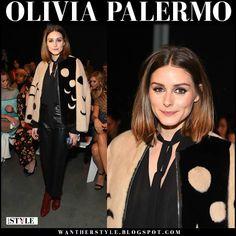 Olivia Palermo in beige and black printed mink fur jacket