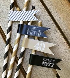 40TH BIRTHDAY DECORATIONS.  Masculine and Modern party decor, Milestone Birthday, Straws and Straw Flags, Black and Gold by CharmingTouchParties on Etsy https://www.etsy.com/listing/529328403/40th-birthday-decorations-masculine-and