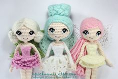 PATTERN 3-PACK: Althaena, Chrysanna, and Luciella Fairy Crochet Amigurumi Dolls