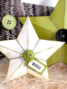 3D Stars Home Decor.  Love the  twine and big buttons!