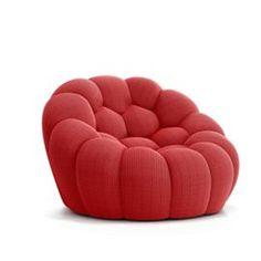 BUBBLE ARMCHAIR - picture 1 Upholstered Ottoman, Stretch Fabric, Bean Bag Chair, Armchair, Bubbles, Design Inspiration, Throw Pillows, Interior Design, Handmade