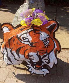 LSU Tiger Burlap Door Hanger by stackhouseLA on Etsy, $30.00. gotta try do make an apache for Gonzales