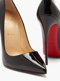 So Kate 120 patent-leather pumps | Christian Louboutin | MATCHESFASHION US Christian Louboutin Heels Black, Louboutin Shoes, Wedding Shoes Heels, Hot High Heels, Patent Leather Pumps, Leather Shoulder Bag, Stiletto Heels, Classy, Funeral