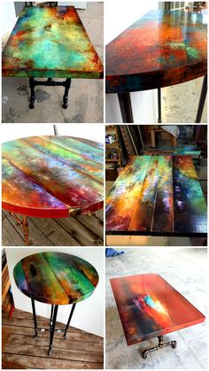 Abstract art with function and maximum gemstone color. Bohemian decor for kitchen, living room, entry way Furniture painted coffee tables hand painted coffee tables, coctail tables, accent t Whimsical Painted Furniture, Hand Painted Furniture, Funky Furniture, Refurbished Furniture, Paint Furniture, Repurposed Furniture, Furniture Projects, Furniture Makeover, Bohemian Furniture