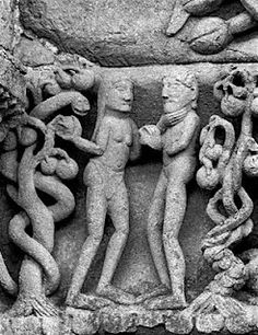 Adam et Eve, linteau du portail (détail), église Sainte-Madeleine, Neuilly-en-Donjon, Allier, France, XI-XIIe siècle, photo: Frank Horvat Lorenzo Ghiberti, Romanesque Sculpture, Adam Et Eve, Snake Goddess, Graven Images, The Falling Man, Art Roman, Arte Popular, Old Testament