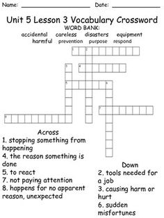 7th Grade Language Arts Crossword Puzzles Printable