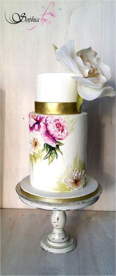 "Glacê Painting Style - ""Painted Wedding Cake with wafer paper Rose"" - Cake by Sophia Fox"