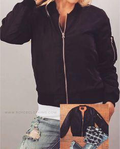 Black Bomber Jacket -Orange Quilted Interior w/ rose gold zippers relaxed fit www.royceclothing.com $42 free shipping -crimson is also avail #royceclothing